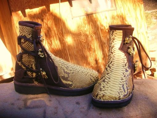 Custom Made Python Back Cut Short Boots Lined With Garment Weight Buffalo Leather