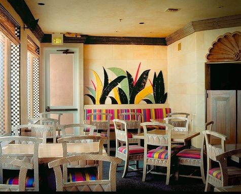 Custom Made Ceramic Banana  Leaf Mural In Restaurant