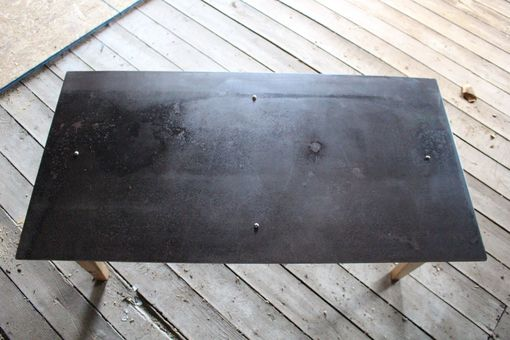 Custom Made Reverse Reclaimed Wood And Steel Coffee Table