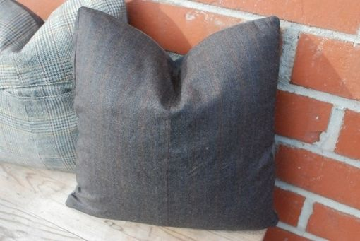 Custom Made 16x16 Vintage Men's Blazer Pillow Cover - Leather Back - Upcycled Men's Blazer - Home Decor