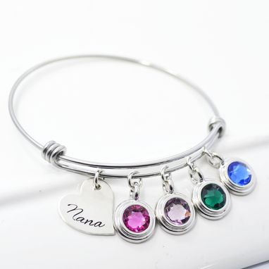 Custom Made Mother Child Birthstone Adjustable Stackable Charm Bangle Bracelet