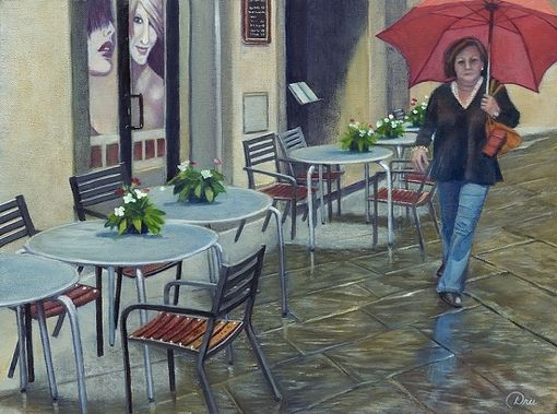 Custom Made Cortona Rain (Tuscany, Italy) Oil Painting Unstretched - Limited Edition Canvas Print