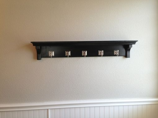 Custom Made Dark Walnut Wall Shelf With Hooks