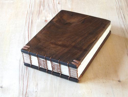 Custom Made Wood Wedding Guest Book - Black Walnut