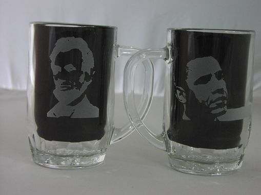 Custom Made Obama And Lincoln Clear Glass Etched Thumbprint Stein
