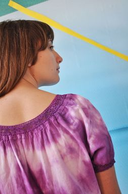 Custom Made Purple Tie-Dye Peasant Blouse With Short Sleeves And Crocheted Lace Trim