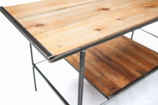 Custom Made Pine Top Coffee Table With Lath Shelf