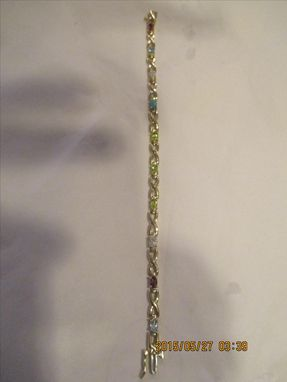 Custom Made Gemstone Mother's Bracelet With Geniune Birthstones In 14karat.