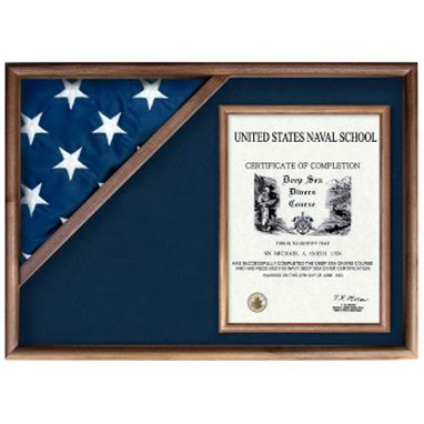 Custom Made Flag And Military Insignia Display Case