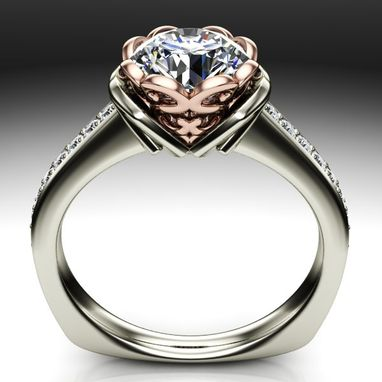 Custom Made Two Tone Floral Designed Diamond Engagement Ring