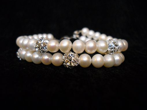 Custom Made Double Strand Pearl And Swarovski Crystal Bracelet
