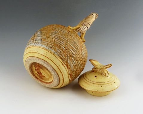 Custom Made Large Stoneware Teapot .- Textured With Caned Handle -Soft Creamy Yellow