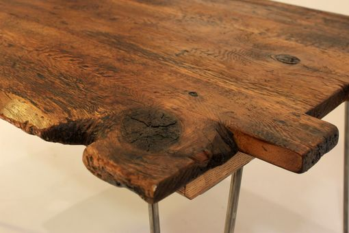 Custom Made Antique Oak Coffee Table With Hairpin Legs