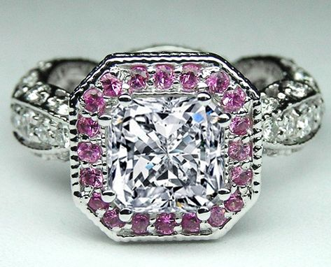 Custom Made Radiant Diamond And Pink Sapphire Halo Engagement Ring