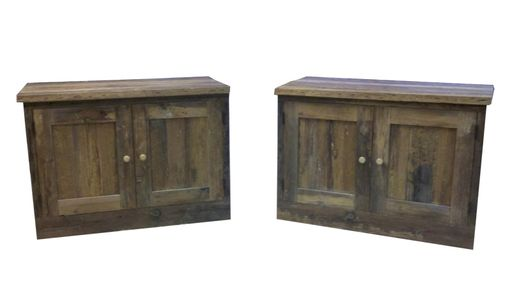 Custom Made Reclaimed Barn Wood Cabinet Built-Ins