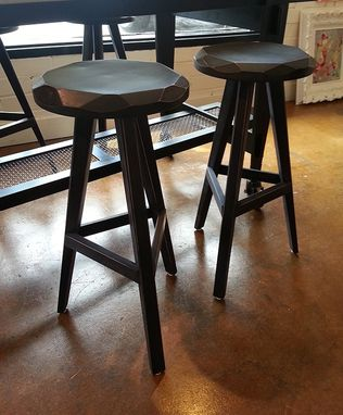 Custom Made Contemporary Hewn Tripod Barstool