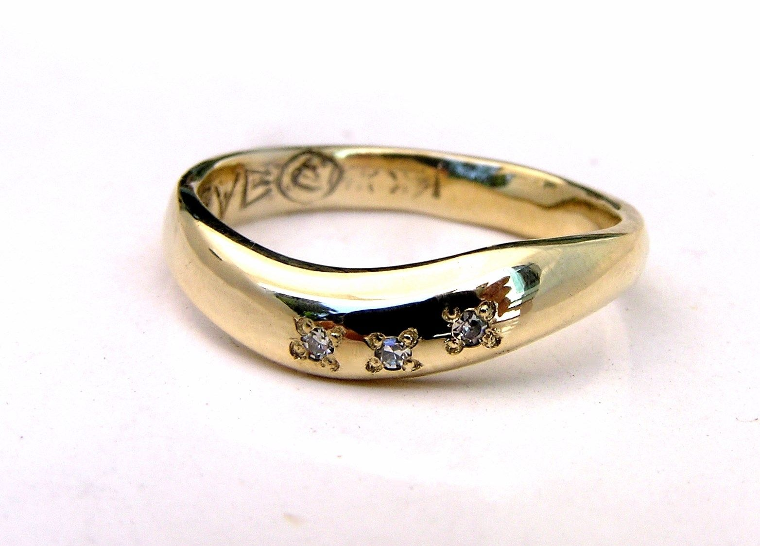 Hand Crafted Wave 14k Gold Ring Design & Diamonds - Custom Handmade ...