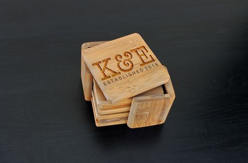 Custom Made Custom Bamboo Coasters, Custom Engraved Coasters --Cst-Bam-K&E