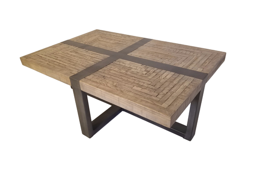 Custom Made Distressed Wood And Steel Coffee Table