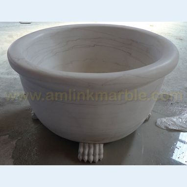 Custom Made Round White Marble Bathtub Hand Carved