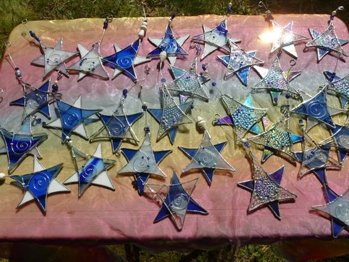 Custom Made Blue And White Star Of David Stained Glass Light Catcher With Beads
