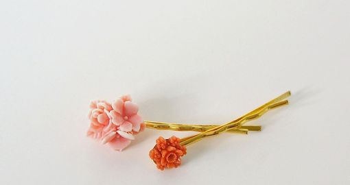 Custom Made Hairpin With Coral Bouquet Cabochon