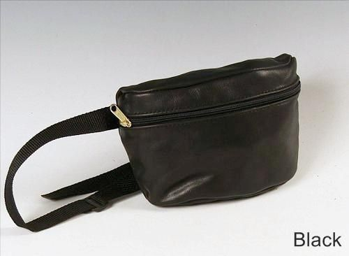 Custom Made Small Hip Bag, Black Leather