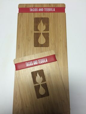 Custom Made Laser Cut And Engraved Bamboo Menu Holders