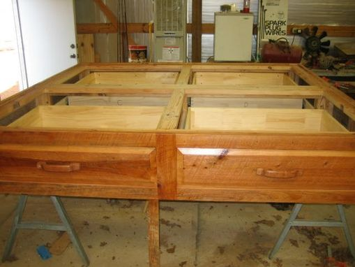 Custom Made Platform Bed Rustic Cypress Wood