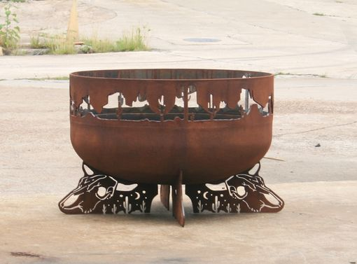Custom Made Fire Pit. Steel Firepit. Desert Scene. Backyard Fire Bowl/Kettle. Steel Garden Sculpture.