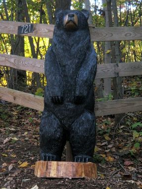 Hand Crafted Large Black Bear Wood Sculpture By Sleepy
