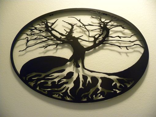 Custom Made Oval Yin-Yang Tree Of Life Metal Wall Art