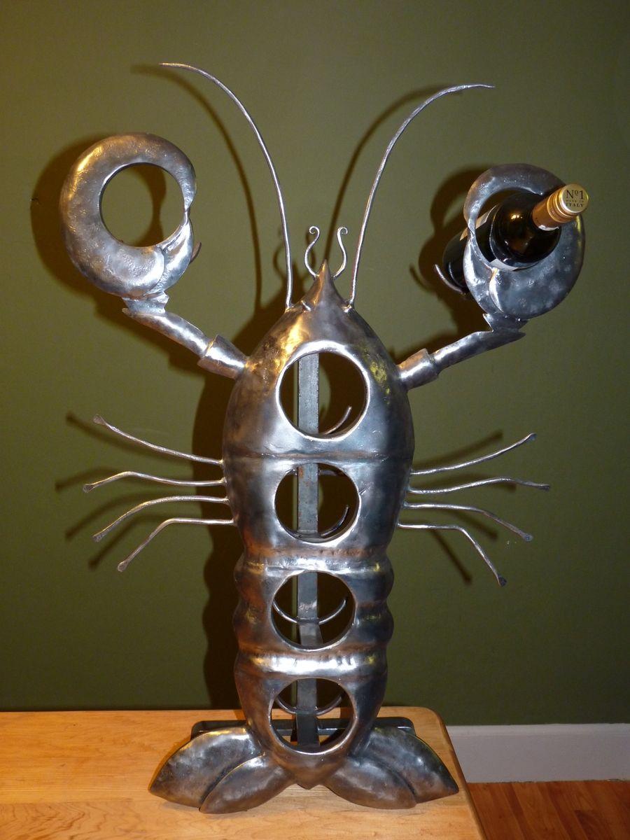 Custom Metal Lobster Wine Bottle Holder By Iron It Out