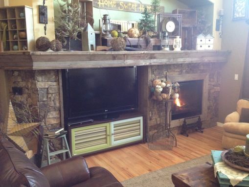 Custom Made Reclaimed Wood Mantle And Stone Work
