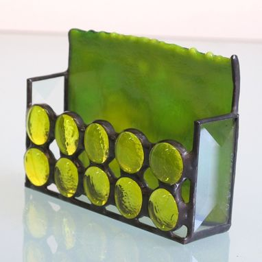 Custom Made Stained Glass Business Card Holder, 1182