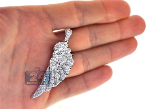 Custom Made Mens Diamond Angel Wing Pendant 14k White Gold 1.72 Ct