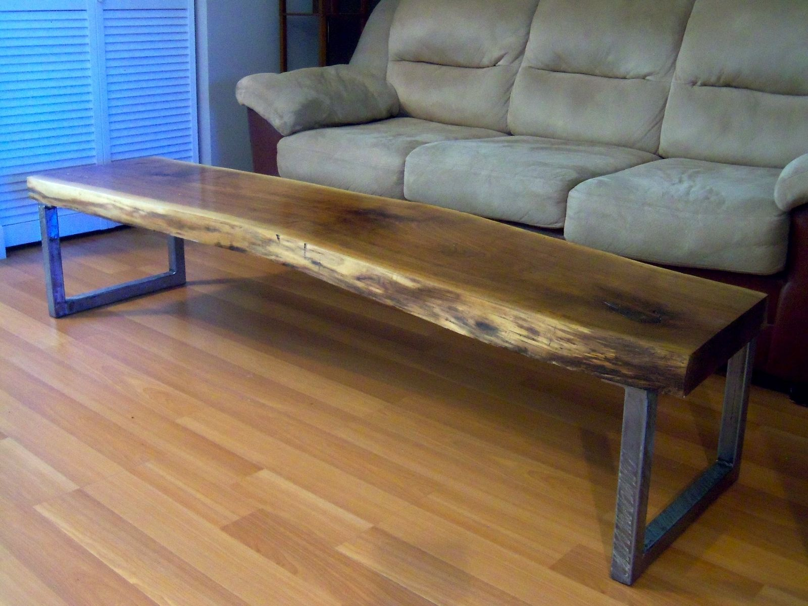 hand made live edge black walnut coffee table with square legs