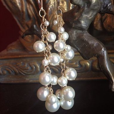 Custom Made Cascading Bridal Classic Pearl 14k Gold Earrings