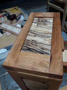 Custom Made Cherry Jewelry Box With Spalted Maple And Pecan Accent