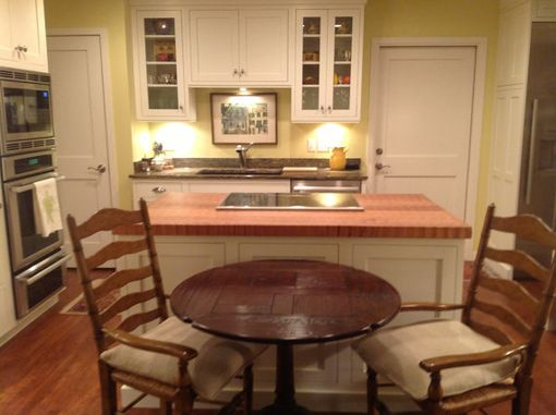 Custom Made Butcher Block Island Counter Top With Cut-Out
