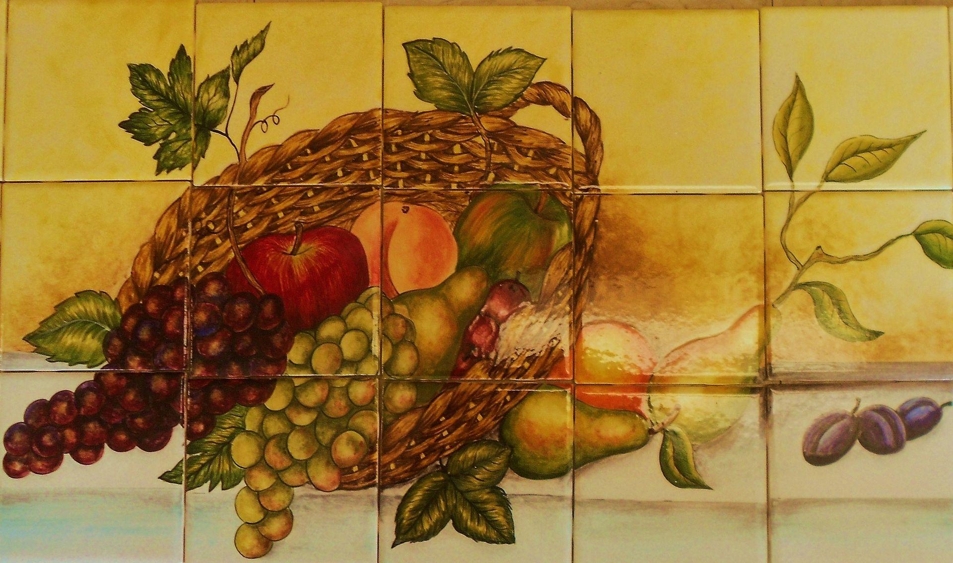 Handmade fruits basket hand painted ceramic tile mural by lomeli custom made fruits basket hand painted ceramic tile mural dailygadgetfo Image collections