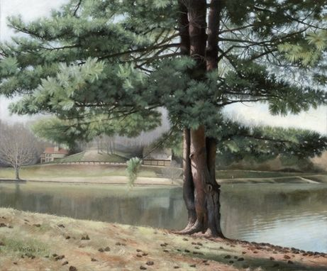 "Custom Made 'Lake Junaluska', Acrylic On Canvas, 24"" X 30"""