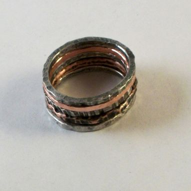 Custom Made Sterling Silver And Copper Stacking Rings