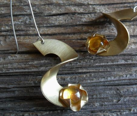 Custom Made Brass Swirl Earrings With Citrine-Colored Glass Accents