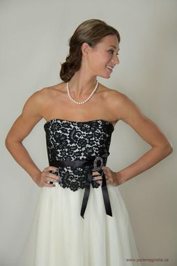 Custom Made Black Lace And Tulle Strapless Dress