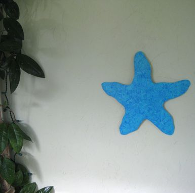 Custom Made Marine Metal Wall Art - Starfish - Reclaimed Metal Sculpture Coastal Beach House Bathroom Blue Aqua