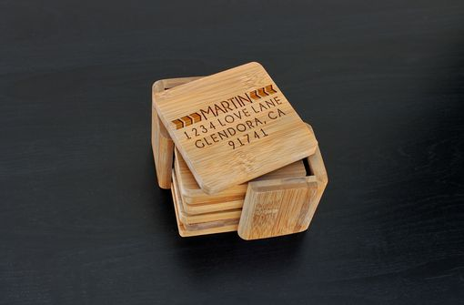 Custom Made Custom Bamboo Coasters, Custom Engraved Coasters --Cst-Bam-Martin Bold Arrow