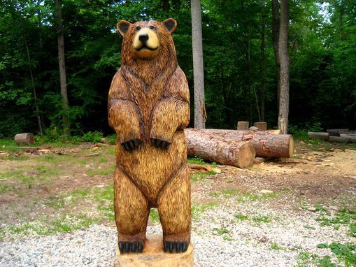 Custom Made 6-Foot Brown Bear Chainsaw Wood Sculpture