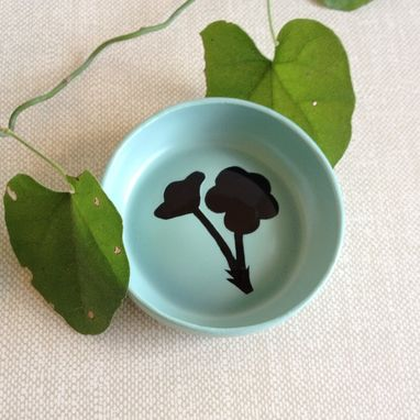 Custom Made Ring Dish, Jewelry Holder, Misty Teal, Blue Green, Botanical Flowers