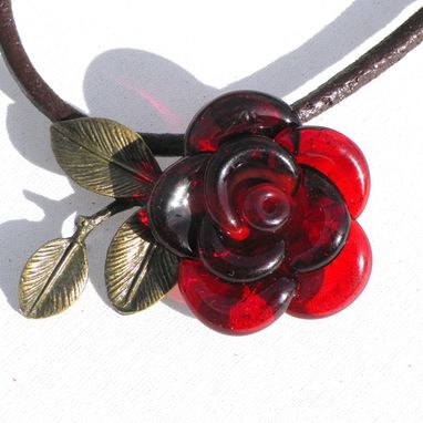 Custom Made Valentines Jewelry Red Rose Necklace Glass Pendant Hand Blown Flower Leather